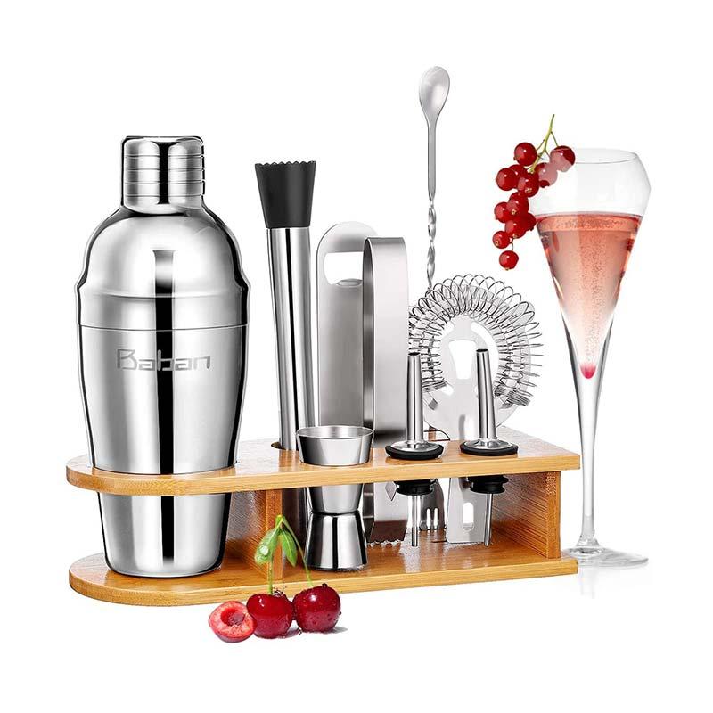 Baban Cocktail Set avec 750ML Shaker 10 Pièces en Acier Inoxidable