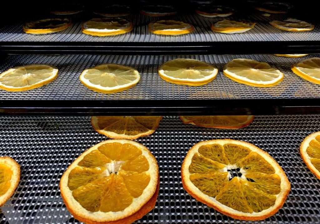 Lamelles d'oranges dans un déshydrateur alimentaire